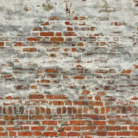 cracky: Red White Vintage Brick Painted Wall With Damaged Plaster Background Texture