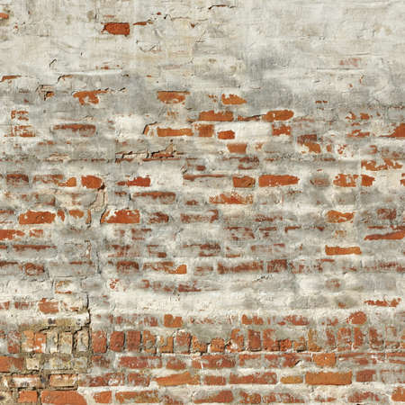 plasterwork: Red White Vintage Brick Painted Wall With Damaged Plaster Background Texture