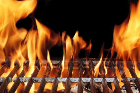 meat on grill: Empty Flaming Charcoal BBQ Grill With Bright Flames On The Isolated Black Background. Weekend Barbecue Party  Or Picnic Concept. Stock Photo