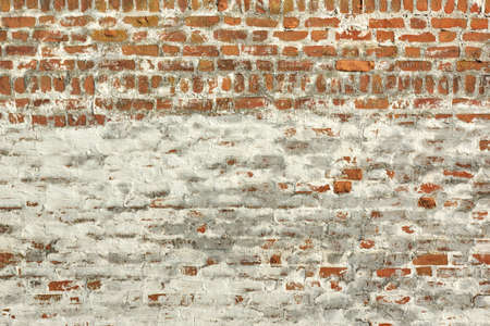 knobby: Red White Vintage Brick Painted Wall With Damaged Plaster Background Texture
