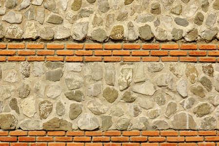 combo: Modern Combo Masonry With Natural Stones And Bricks, Horizontal Background Texture Stock Photo