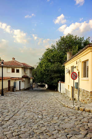 european culture: Plovdiv, Bulgaria. Old Town Walk Street With Buildings And Paving Stones.  Plovdiv To Be 2019 European Capital of Culture in Bulgaria Stock Photo