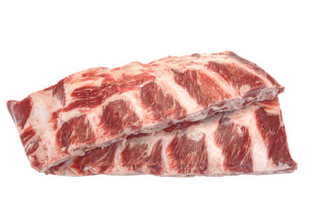 Raw Black Angus Marbled Beef Ribs Isolated On White Background. Beef Meat. Cookout Food