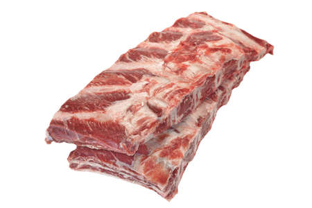intramuscular: Raw Black Angus Marbled Beef Ribs Isolated On White Background. Beef Meat. Cookout Food