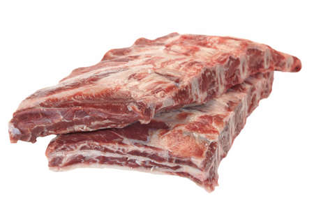 black angus cattle: Raw Black Angus Marbled Beef Ribs Isolated On White Background. Beef Meat. Cookout Food