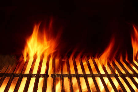 barbeque: Empty Clean Flaming Barbecue Grill Isolated On Black Background. Top View. Summer Party or Cookout Or Picnic Concept