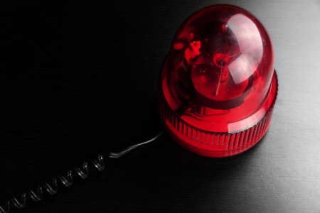 strobe lights: Magnetic Mounted Red Vehicle Police Strobe Rotating Flash Warning Light Beacon Flashing Emergency Lights On Black Background, Top View