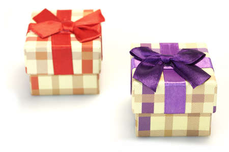 two checkered gift box with beige brown pattern red violet stock