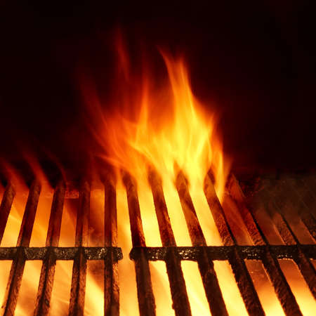 hot frame: Empty Hot Charcoal Barbecue Grill With Bright Flame Isolated On Black, Frame Square Background Texture. Party, Picnic, Braai, Cookout Concept