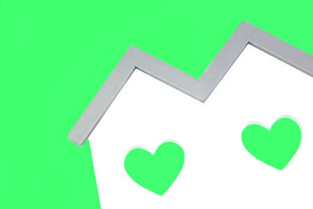 green house: White Home Wooden Shape With Two Green Heart Shape Window Isolated Background, ECO Concept