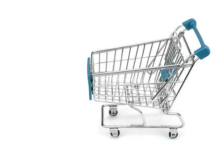 empty shopping cart: New Empty Shopping Cart  With Blue Advertising Display Isolated On White Background , Close Up, Side View Stock Photo