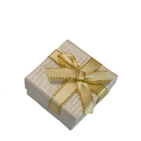 pearly: Close Up Of Single Pearly Gift Box With White Pattern, Golden Ribbon And Bow, Isolated On White Background,  Horizontal Image With Copy Space, Top View