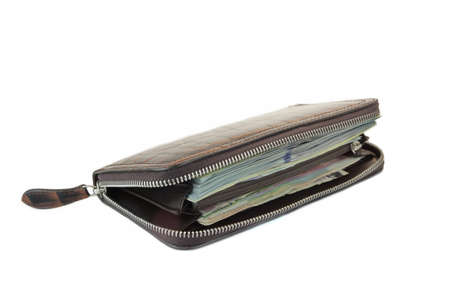 shinny: Unzipped Shinny Long  Wallet Made From Brown Crocodile Leather With Coin Purse And Cash Isolated On White Background, Side View, High Detail Close Up