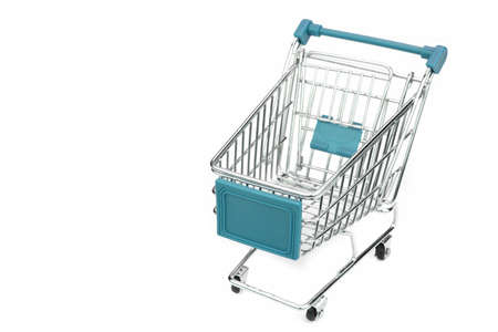 high angle view: New Empty Shopping Cart  With Blue Advertising Display Isolated On White Background , Close Up, High Angle View