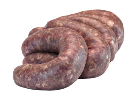 Fresh And Raw Bratwurst Sausages In Natural Casing Isolated On The White Background, Cookout Food, Traditional  German Cuisine, Close Up