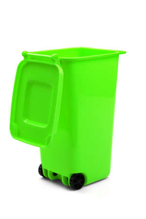 wheelie: Green Plastic Waste Container Or Wheelie Bin, Isolated On White Vertical Background, Close Up