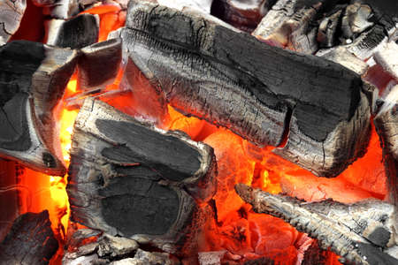 briquettes: Glowing Hot Charcoal Briquettes Background Texture, Top View, Close-up Stock Photo