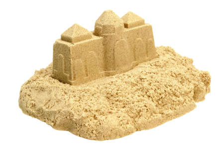 kinetic: Single Sand Castle Made From Kinetic Sand or Isolated On White Background, Concept for Indoor Children Creativity, Front View, Close Up