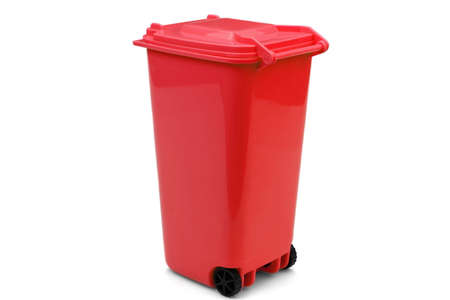 Red Plastic Waste Container Or Wheelie Bin, Isolated On White Horizontal Background, Close Up