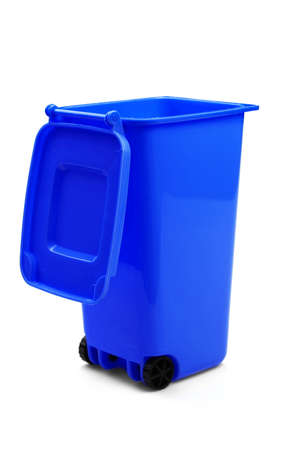 big bin: Blue Plastic Waste Container Or Wheelie Bin, Isolated On White Vertical Background, Close Up