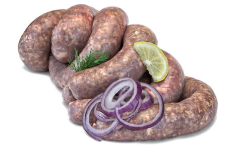 Fresh And Raw Bratwurst Sausages In Natural Casing Isolated On The White Background