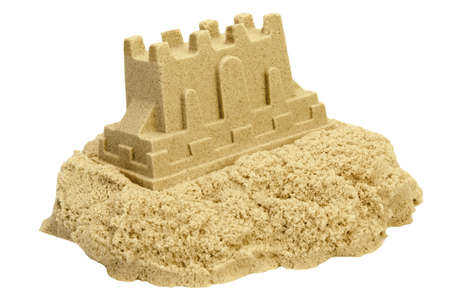 kinetic: Single Sand Castle Made From Kinetic Sand or Magic Sand Isolated On White Background, Concept for Indoor Children Activity, Front View, Close Up