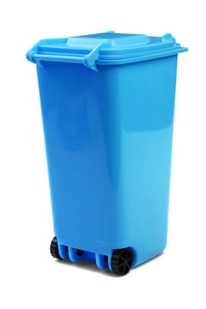 wheelie: Blue Plastic Waste Container Or Wheelie Bin, Isolated On White Vertical Background, Close Up