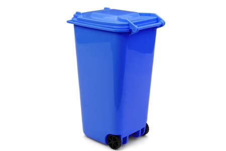 wheelie: Blue Plastic Waste Container Or Wheelie Bin, Isolated On White Horizontal Background, Close Up Stock Photo