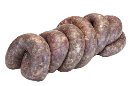 the casing: Fresh And Raw Bratwurst Sausages In Natural Casing Isolated On The White Background, Cookout Food, Traditional  German Cuisine, Close Up