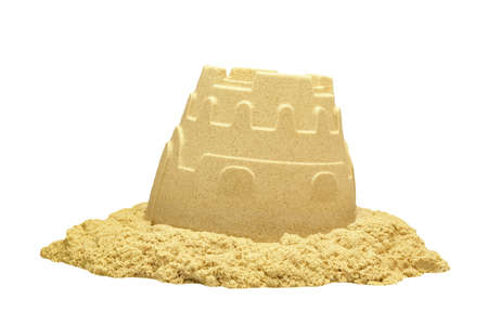 kinetic: Single Sand Castle Tower Made of Kinetic or Magic Sand Isolated On White Background, Indoor Or Outdoor Summer Activity, Front View, Close Up, Isolated