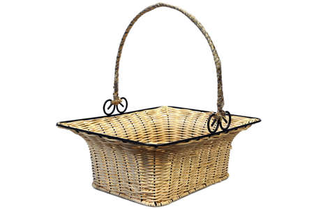 wickerwork: Empty Vintage Wicker Basket With Metal Decorated Handle Isolated  On White Background