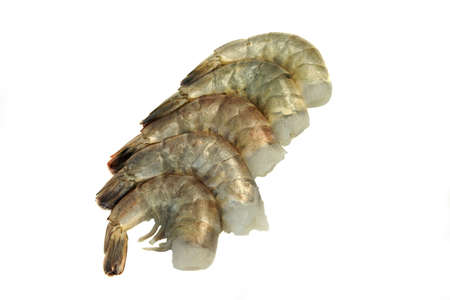 king size: Raw and Uncooked King Shrimps (Penaeidae Shrimps) Laying In A Row Isolated On White Background, Top View, Close Up