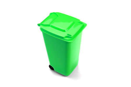 wheelie bin: Green Plastic Waste Container Or Wheelie Bin, Isolated On White Horizontal Background, Close Up