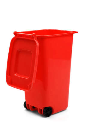 wheelie: Red Plastic Waste Container Or Wheelie Bin, Isolated On White Vertical Background, Close Up