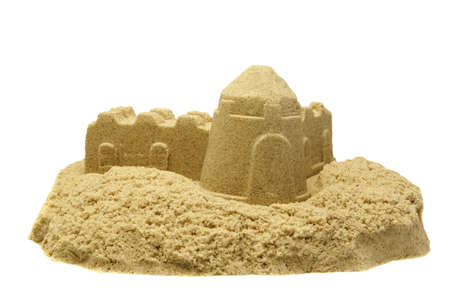 kinetic: Single Sand Castle Made From Kinetic Sand or Magic Sand Isolated On White Background