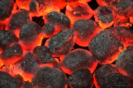 briquettes: Barbecue Grill Pit With Glowing And Flaming Hot Charcoal Briquettes, Cookout Background Or Texture, Close-Up, Top View