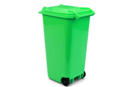wheelie: Green Plastic Waste Container Or Wheelie Bin, Isolated On White Horizontal Background, Close Up