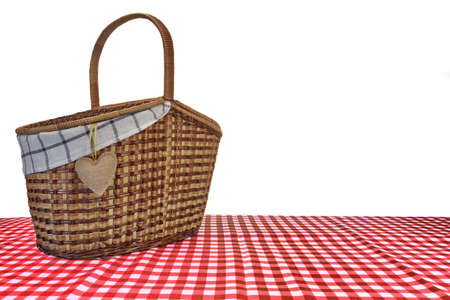 pic nic: Picnic Basket On The Red Checkered Tablecloth Isolated On White Background Stock Photo
