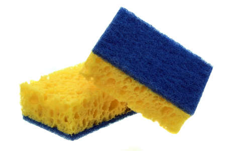 hardwearing: Two New Absorbent Yellow Sponge With Blue Hardwearing Fiber Scourer Isolated On White Background, Close Up Stock Photo