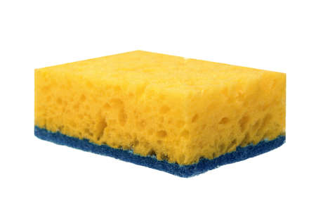 hardwearing: Single New Absorbent Yellow Sponge With Blue Hardwearing Fiber Scourer Isolated On White Background, Close Up