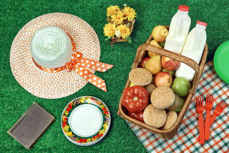 Summer Picnic Scene On The Fresh Summer Lawn With Food And Drink In The Wicker Basket, Old Book And Female Straw Hat, Top View Banque d'images