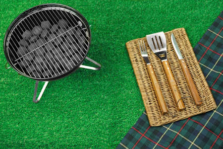 holzbriketts: Summer Picnic Scene On The Lawn. Portable Barbecue Grill, Tools And Blanket. Top View Lizenzfreie Bilder