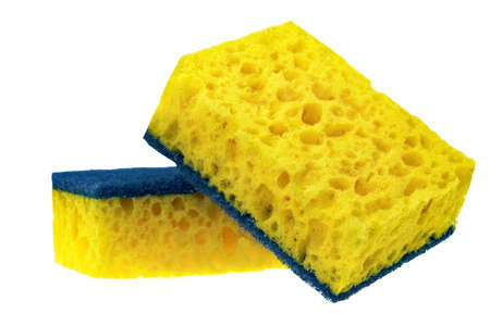 Two New Absorbent Yellow Sponge With Blue Hardwearing Fiber Scourer Isolated On White Background, Close Up Stock Photo