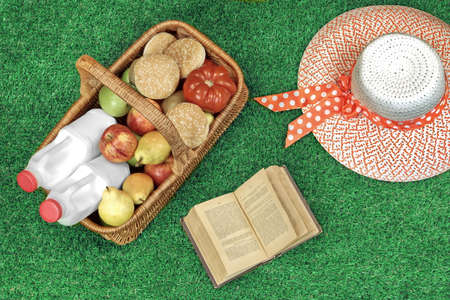 Summer Picnic Scene On The Fresh Grass With Food And Drink In The Wicker Basket, Book And Female Straw Hat, Top View