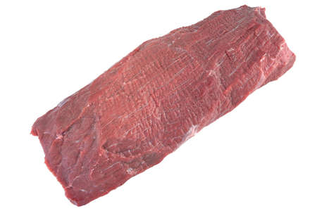 tenderloin: Uncooked Beef Tenderloin Large Meat Cut Isolated On White Background, Close Up, Top View. Raw Veal Meat.