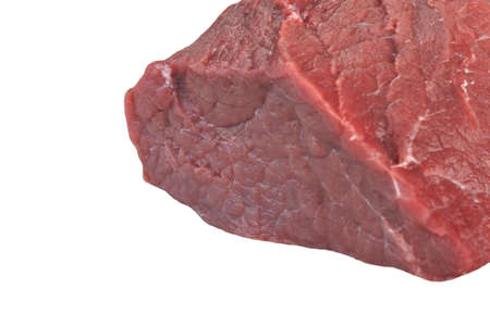 tenderloin: Raw Fresh Beef Tenderloin Large Meat Cut Isolated On White Background, Close Up, Front View. Raw Veal Meat. Stock Photo