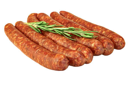 barbecuing: Sausages Made Of Chorizo Mince In Natural Casing From Intestines In  A Heap Isolated On White Background, Cookout Food For Grilling Or Barbecuing, Top View, Close Up