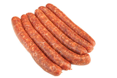 intestines: Sausages Made Of Chorizo Mince In Natural Casing From Intestines In  A Heap Isolated On White Background, Cookout Food For Grilling Or Barbecuing, Top View, Close Up