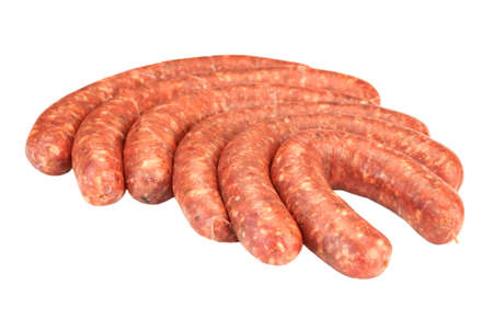 barbequing: Red Sausages Made Of Chorizo Mince In Natural Casing From Intestines In  A Heap Isolated On White Background, Cookout Food For Grilling Or Barbecuing, Top View, Close Up