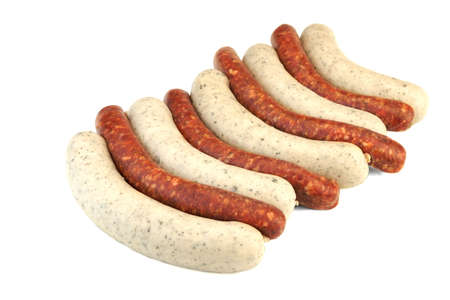 weisswurst: Uncooked Mix From Red And White Sausages Isolated On White Background. Weisswurst And Red Sausages Made Of Chorizo Mince In Natural Casing. Close Up, Top View
